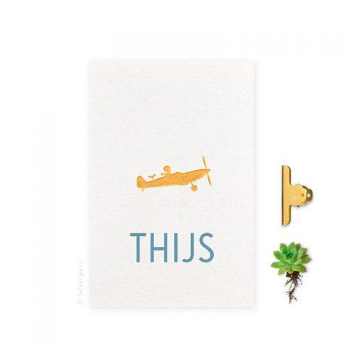 Geboortekaartje folie jongen vliegtuig letterpers letterpress