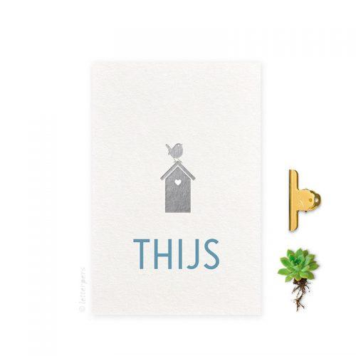 Geboortekaartje folie jongen vogelhuis letterpers letterpress