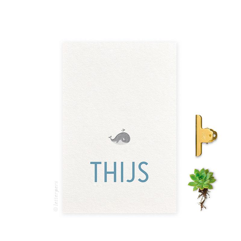 Geboortekaartje_folie jongen walvis letterpers letterpress jongen