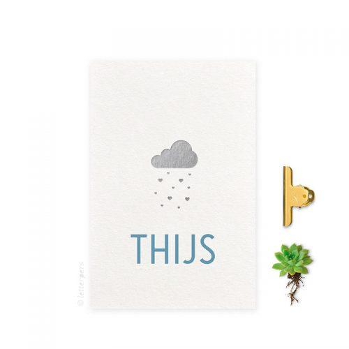 Geboortekaartje folie jongen wolk letterpers letterpress