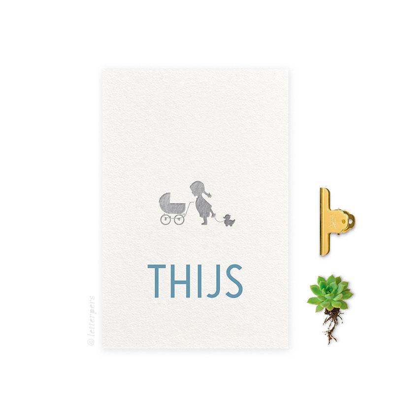 Geboortekaartje folie jongen zus kinderwagen letterpers letterpress