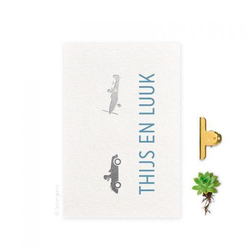 Geboortekaartje folie jongens wolk letterpers letterpress tweeling