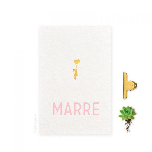 Geboortekaartje folie meisje ballon letterpers letterpress