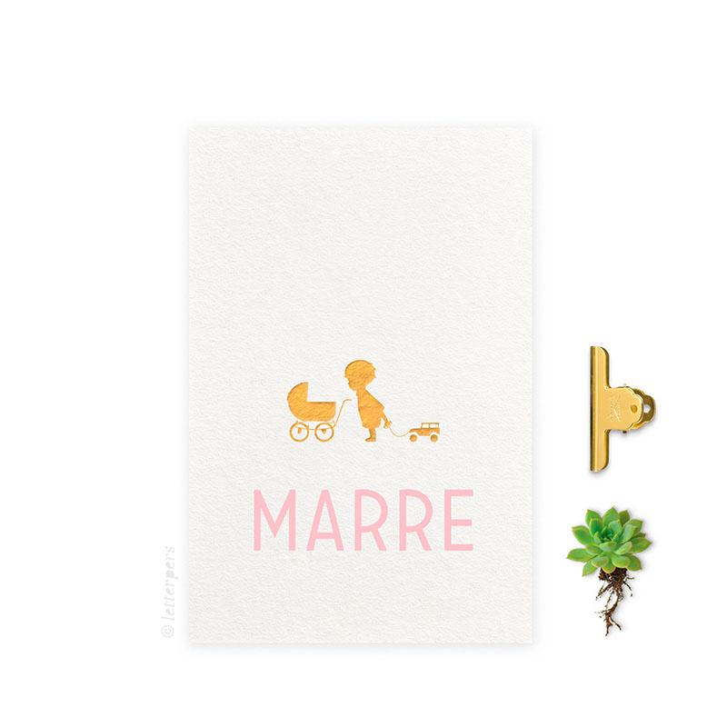 Geboortekaartje folie meisje_broer_kinderwagen letterpers letterpress