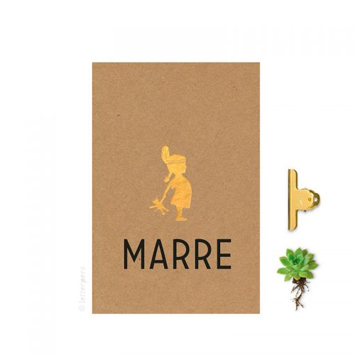 Geboortekaartje folie meisje bruinkarton letterpers letterpress