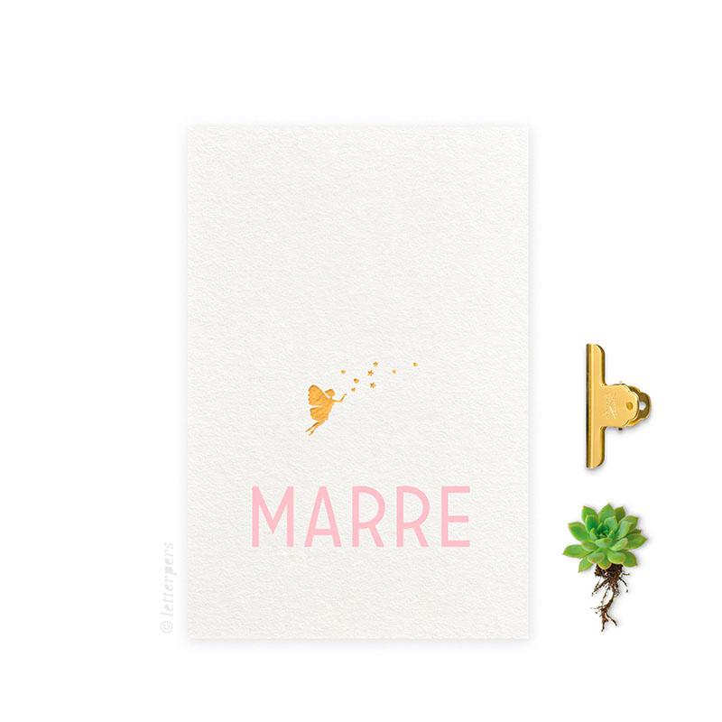 Geboortekaartje folie meisje fee letterpers letterpress