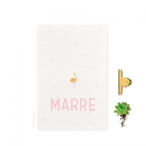 Geboortekaartje folie meisje flamingo letterpers letterpress