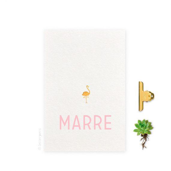 Geboortekaartje_folie_meisje_flamingo_letterpers_letterpress