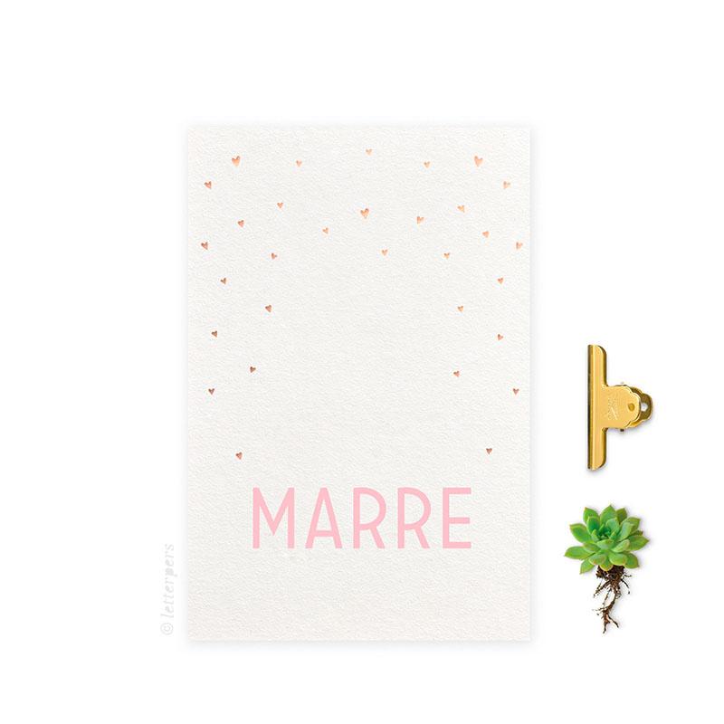Geboortekaartje folie meisje_hartjes top letterpers letterpress