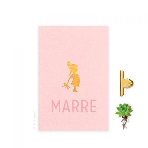 Geboortekaartje folie meisje indiaantje roze letterpers letterpress