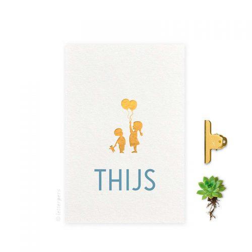 Geboortekaartje folie meisje_jongen_ballonnen letterpers letterpress