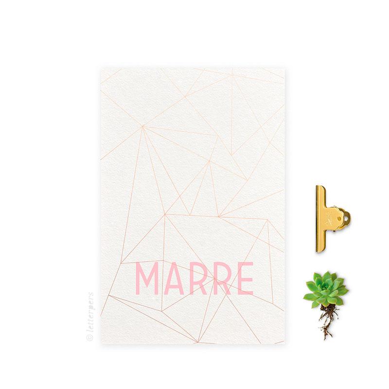 Geboortekaartje folie meisje lijnen letterpers letterpress