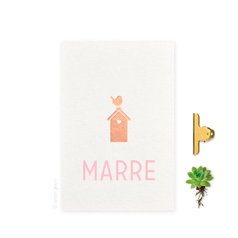Geboortekaartje folie meisje_vogelhuis letterpers letterpress