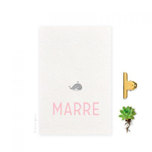 Geboortekaartje folie meisje walvis letterpers letterpress