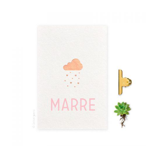 Geboortekaartje folie meisje wolk letterpers letterpress