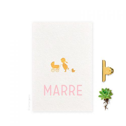 Geboortekaartje folie meisje_zus kinderwagen letterpers letterpress
