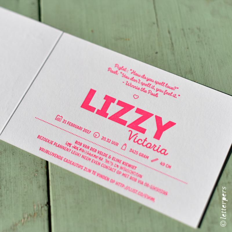 Letterpress Lizzy Las Vegas raster letterpers meisjes geboortekaartje