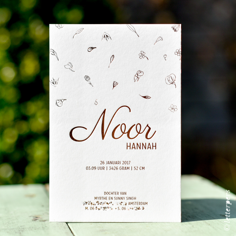 Letterpers letterpress koper bloemen folie Noor