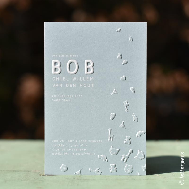 Letterpers letterpress Bob dieren