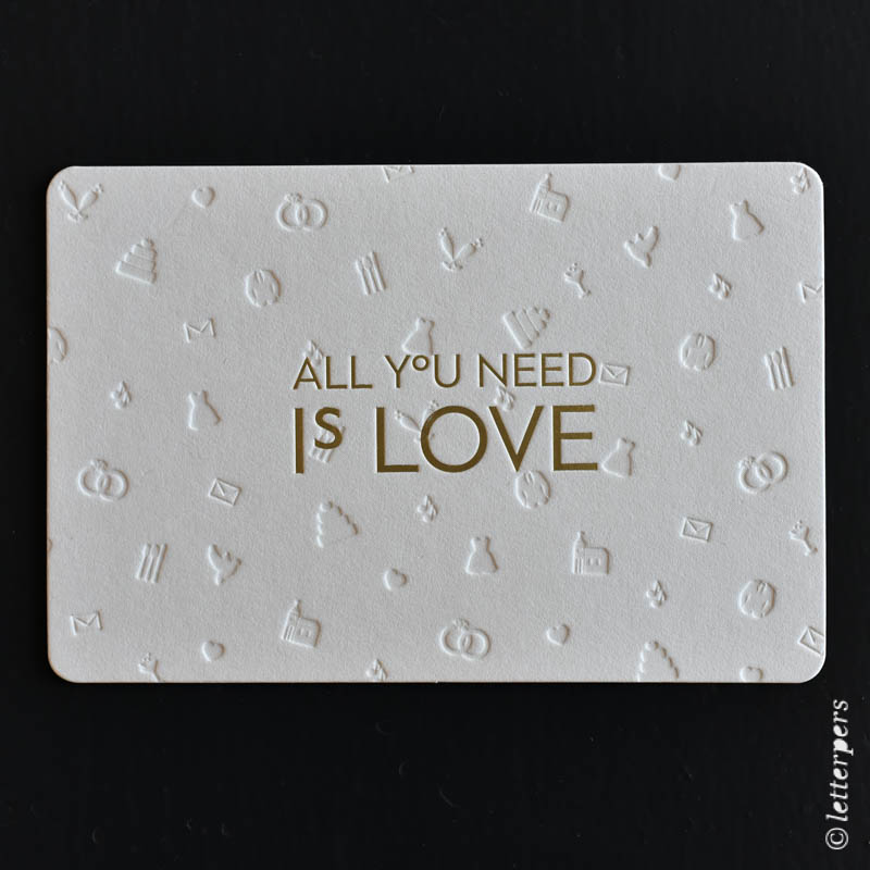 trouwkaart, letterpers, letterpress, all you need is love