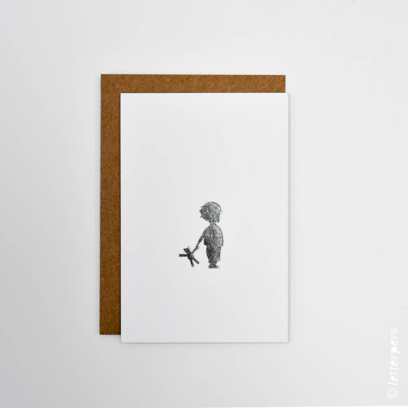 letterpers, letterpress, boy with teddybear