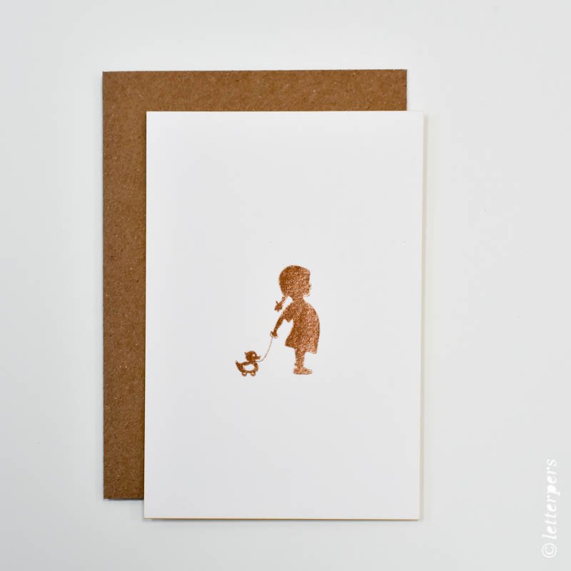 letterpers, letterpress, girl with duck