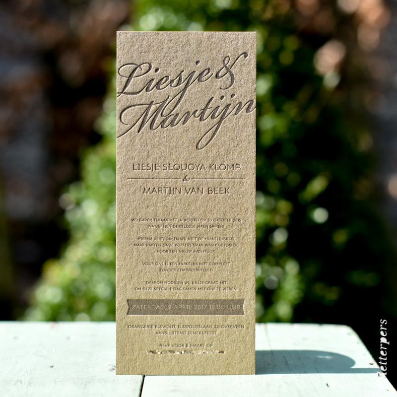 bruin karton, letterpers, letterpress, trouwkaart, wedding