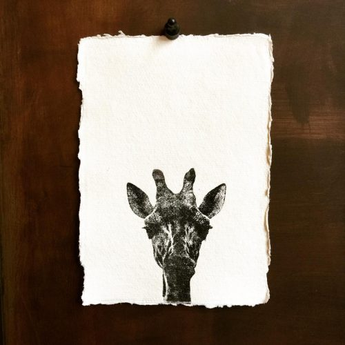 Poster Giraffe handgeschept