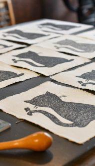 Letterpers-Letterpress-geboortekaart-Letterpers-Letterpress_poster_cat_handmade_paper_Linoleum_poes-DSC_0079