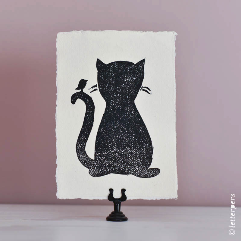 Letterpers-Letterpress-geboortekaart-Letterpers-Letterpress_poster_cat_handmade_paper_Linoleum_poes-DSC_0091