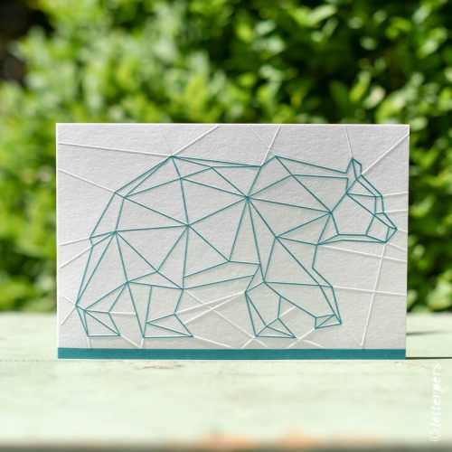 geboortekaartje quilten met origami beer in preeg
