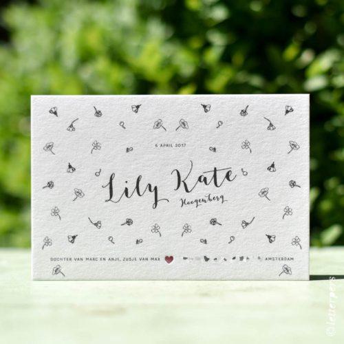 Letterpers Letterpress geboortekaart Lily Kate