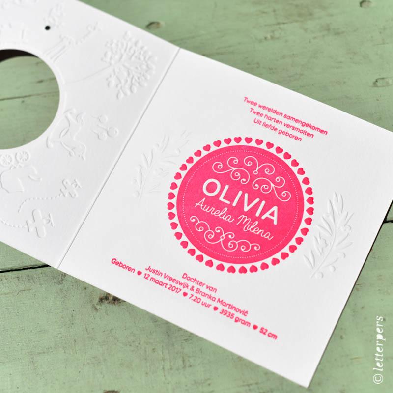 Letterpers roze Olivia