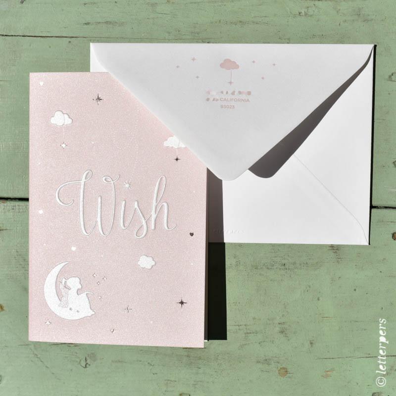 letterpers, letterpress, elf, wish, folie, sterren, wolkjes, lief, geboortekaartje