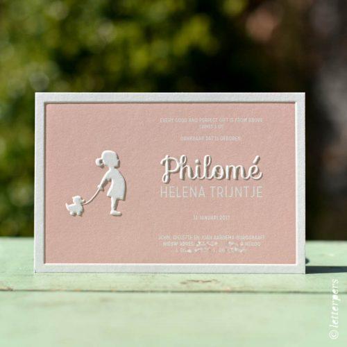 Letterpers Classic meisjeskaart met preeg