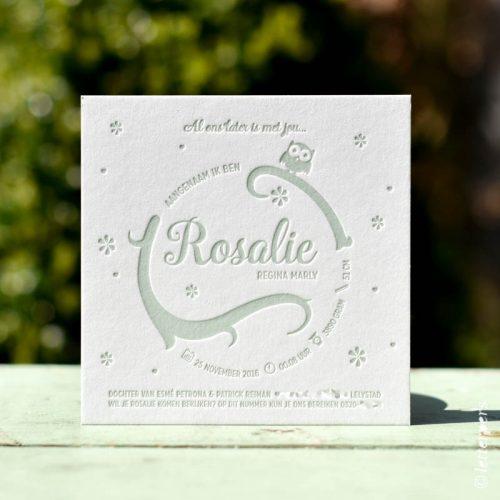 Geboortekaartje Rosalie vierkante kaart