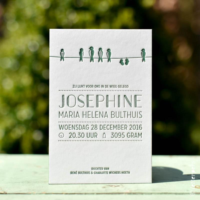 Groen geboortekaartje Josephine met vogeltjes aan de waslijn