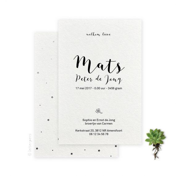 Geboortekaartje_folie_met_patronen_sterren_Mats