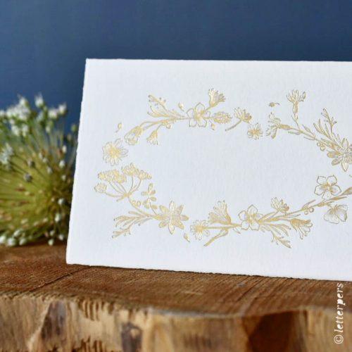 bloemenkrans, letterpers, letterpress, geboortekaartje, trouwkaart