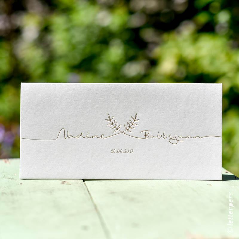 Hotfoil letterpress gold goud letterpers wedding