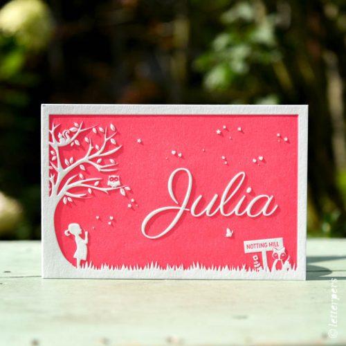 Geboortekaartje Julia op maat getekend