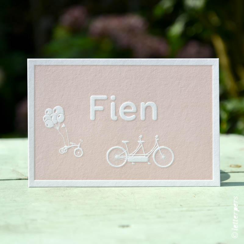 Letterpers-Letterpress-geboortekaart-DSC_3669_Fien_fiets_tandem