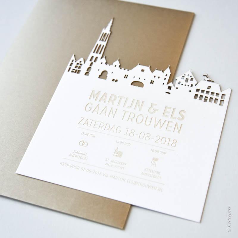 skyline, amersfoort, trouwkaart, letterpers, letterpress