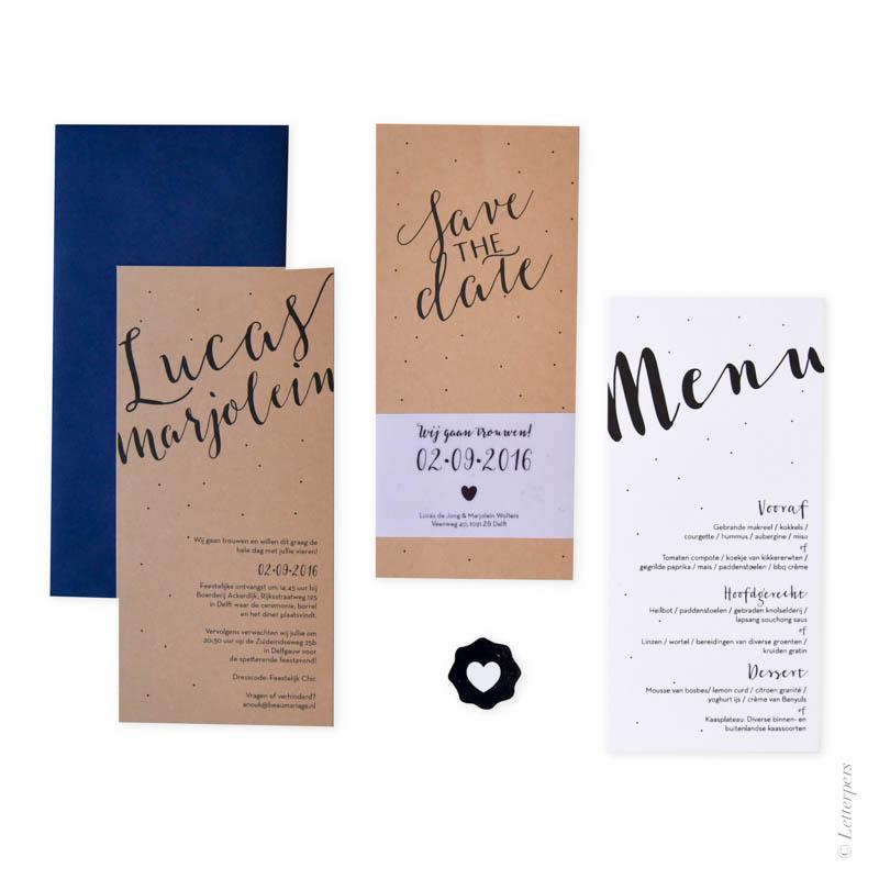 letterpers, letterpress, bruin, kraft, karton, wikkel, menukaart, menu