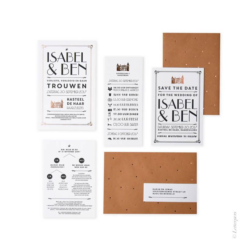 letterpers, letterpress, kasteel, koper, folie