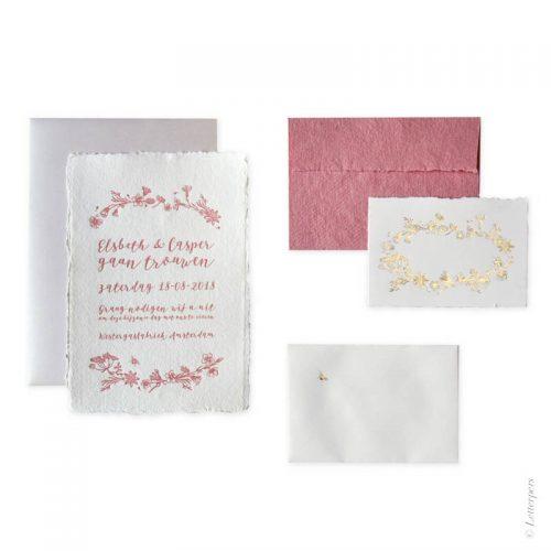 Khadi papier trouwset sierlijk romantisch roze met folie
