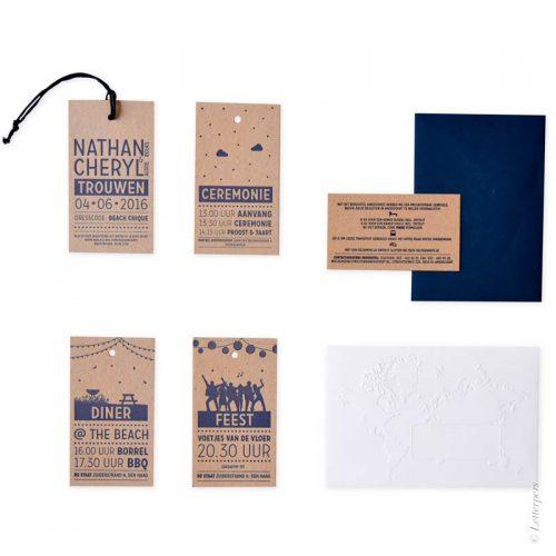 Labels met letterpers kleur verdiept in het karton papier