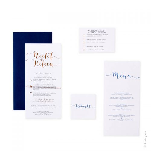 Heleen en Roelof, letterpers, letterpress, menukaart, bedankkaart