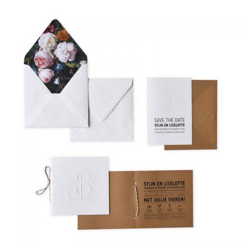 voering, bloemen, envelop, preeg, reliëf, trouwkaart
