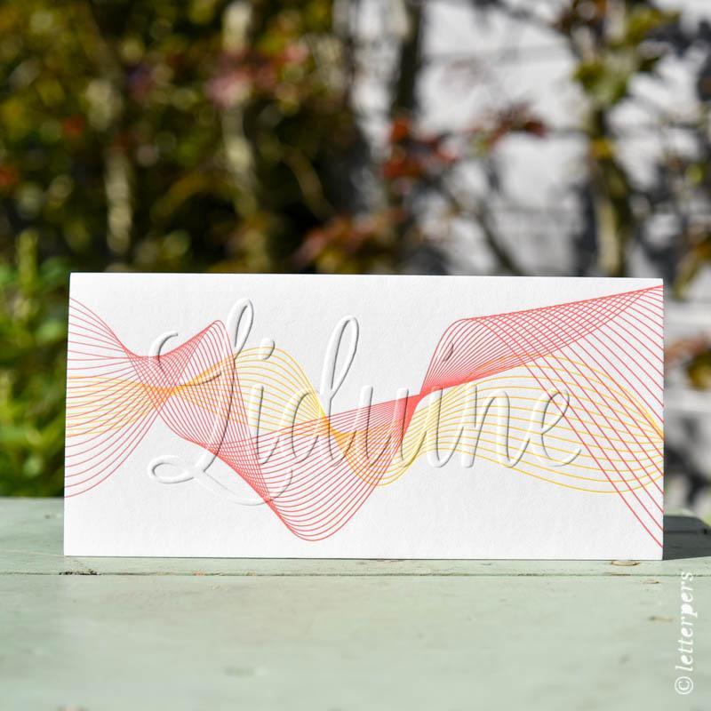 letterpers, letterpress Liduine, folie goud zijkant folie op snede golven lijnen grafisch stoer